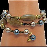 Signed Liz Clayborne LCI Vintage Gemstone Pearl Hemitite Wire Wrap Bracelet