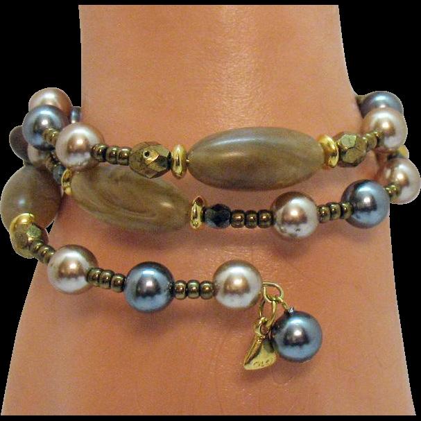 Signed Liz Clayborne LCI Vintage Gemstone Pearl Hematite Wire Wrap Bracelet