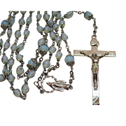 Vintage Blue Opalescent Glass Bead Wire Wrap Religious Rosary