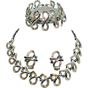 Unsigned Coro Vintage Parure Silver Ice AB Rhinestone Necklace Bracelet Earrings Set