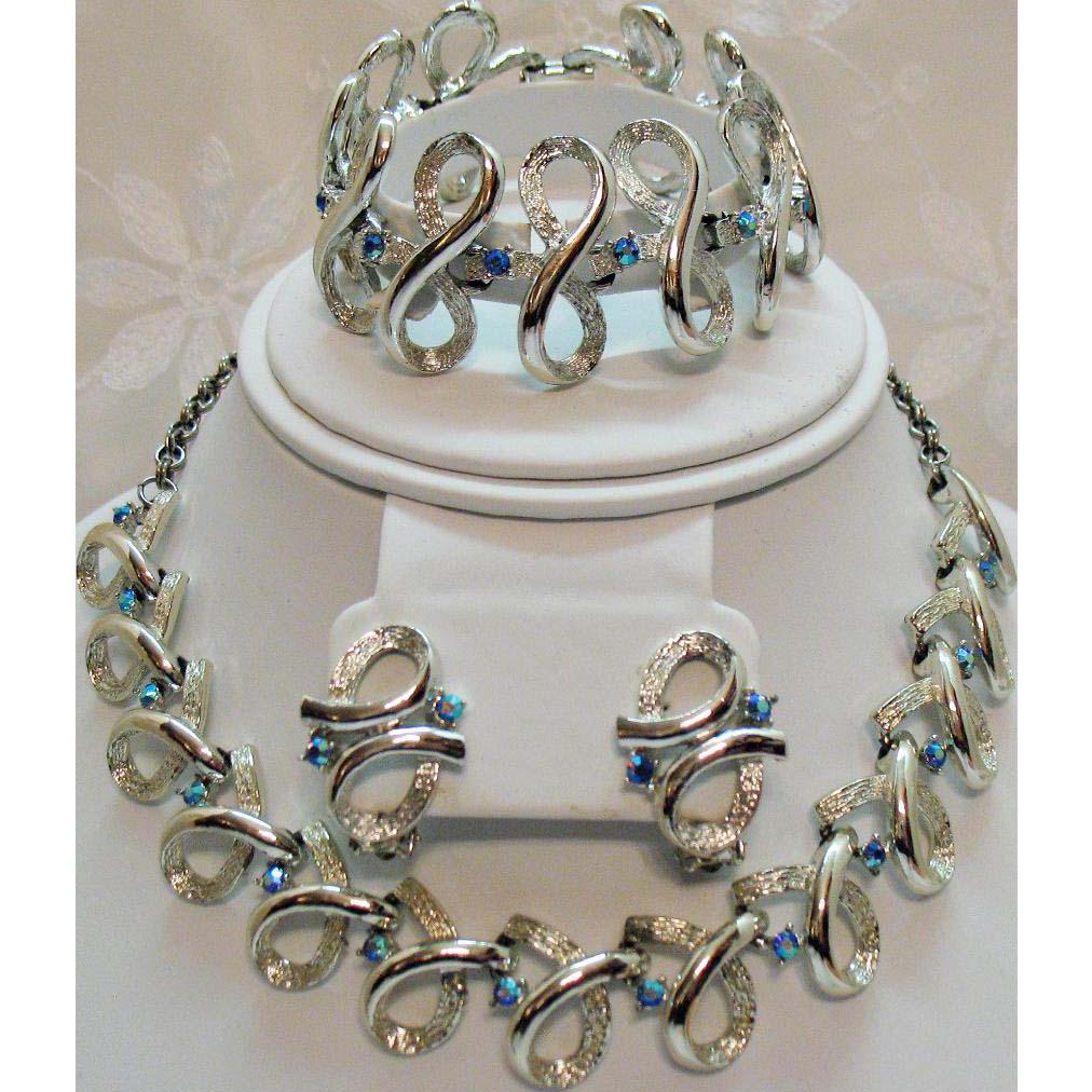 Unsigned Coro Vintage Parure Silver Ice AB Rhinestone Necklace Bracelet Earrings Set
