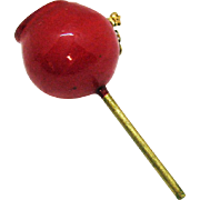 Vintage Coro Teen Red Epoxy Candy Apple Brooch Book