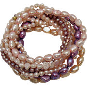 Set of 10 Cultured Pearl Pink Lavender Vintage Stretch Bracelets
