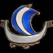 Signed Aksel Holmsen Norwegian Artist Vintage Guilloche Enameled Sailing Ship Brooch