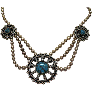 Rare Signed Sancrest Vintage Ball Beaded Faux Turquoise Swag Necklace 1951-1954