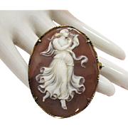 Exceptional Antique 18K Sardonyx Shell Cameo Brooch Pendant Necklace Full Figure Dancing Muse Playing Lyre