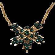 Signed Coro Pegasus Vintage Emerald Green Rhinestone Lariat Necklace