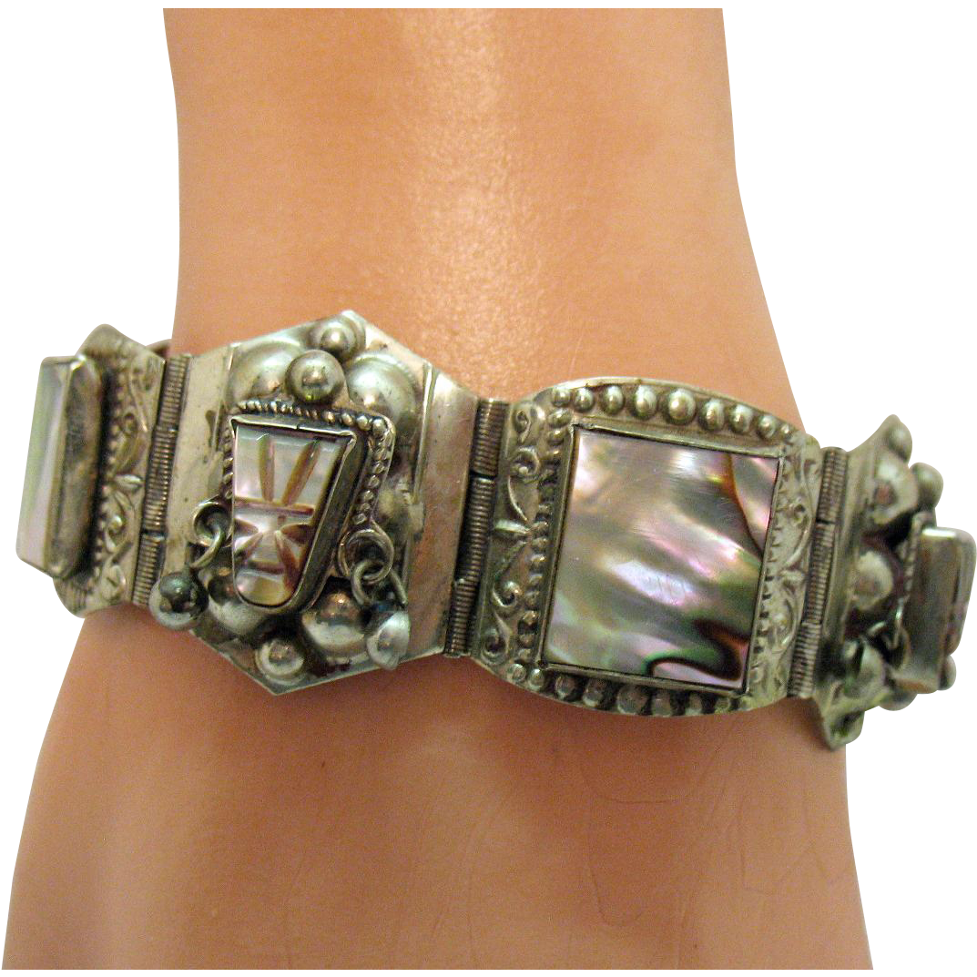 Vintage Signed JPR Sterling Silver Abalone Taxco Mexican Mayan Face Dangle Earrings Bracelet