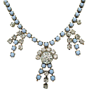 Unique Vintage Blue Milk Glass Rhinestone Silver Metal Necklace