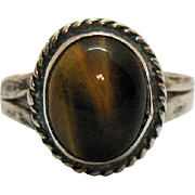 Vintage Sterling Silver Tigers Eye Gemstone Ring 1940s