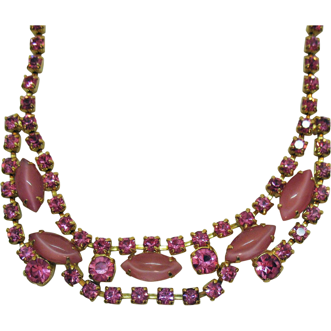 Gorgeous Vintage Pink Rhinestone Givre Glass Marquise Stones Necklace