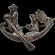 Signed Spain Vintage 3 Dimensional Figural Silver Gondola Brooch