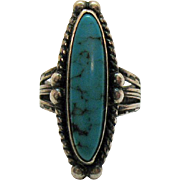 Early Vintage Sterling Silver Native American Indian Story Telling Turquoise Ring