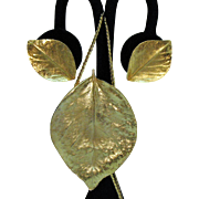 Unusual Signed Crown Trifari Vintage Golden Leaf Pendant Necklace Earrings Set
