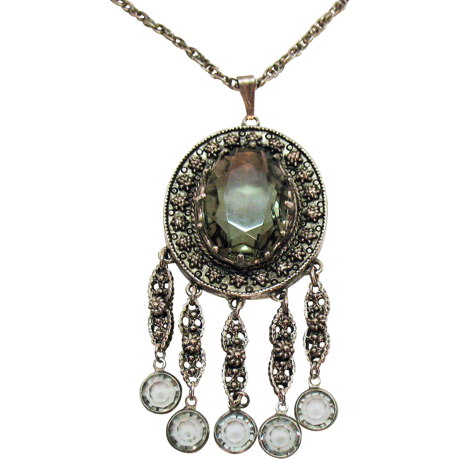 Awesome Signed Goldette Vintage Smoky Grey Glass Stone Necklace Collet Dangles
