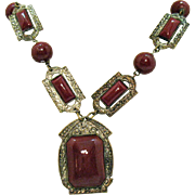 Signed Czechoslovakia Glass Cinnabar Stones Brass Vintage Arts and Crafts Period Necklace