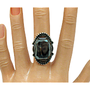 Signed Bell Trading Co Native American Indian Vintage Sterling Silver Hematite Bold Ring