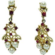 Signed Coro Vintage Dangle Faux Pearl Ruby Clip Earrings