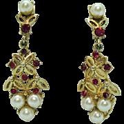 Signed Coro Vintage Dangle Faux Pearl Ruby Clip Earrings