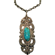 Signed Towle Silversmiths Sterling Silver Turquoise Vintage Arts and Crafts Pendant Necklace