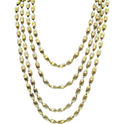 Signed Napier Vintage 60 Inch Long Golden Rice Beaded Necklace