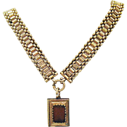 Antique 10K Gold Victorian Book Chain Necklace with 8K Book Pendant
