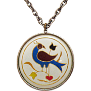 Vintage Enameled Cloisonne Floral Bird Under Plexiglas Pendant Necklace