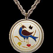 Vintage Enameled Cloisonne Floral Bird Under Plexiglas Pendant Necklace