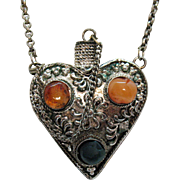 Unusual Vintage Repousse Silver Heart Perfume Atomizer Pendant Necklace Baltic Amber Jade Stones