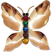 Beautiful Signed Sterling Coro Craft Rose Vermeil Rhinestone Butterfly Brooch