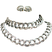 Signed Monet Vintage Parure Silver Chain Necklace Bracelet Earrings Set