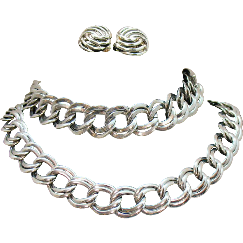 Signed Monet Vintage Parure Silver Chain Necklace Bracelet Earrings Set