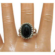 Beautiful Vintage Sterling Silver Black Onyx Ring 8 1/4