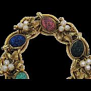 Exceptional Vintage Molded Art Glass Faux Scarab Pearl Floral Link Bracelet