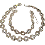 Amazing Vintage Art Deco Rhinestone Rhodium Plated Necklace Bracelet Set