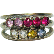Signed Tiara 10K White Gold Vintage Synthetic Gemstone Band Ring Original Box