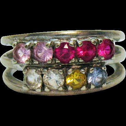 Signed Tiara 10K White Gold Vintage Synthetic Gemstone Band Ring Original Box
