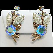 Gorgeous Vintage Molded Lava Glass Aurora Borealis Rhinestone Clip Earrings