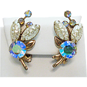 Gorgeous Vintage Molded Lava Glass Aurora Borealis Rhinestone Clip Earrings