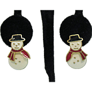 Vintage Enameled Snow Man Articulated Pierced Earrings