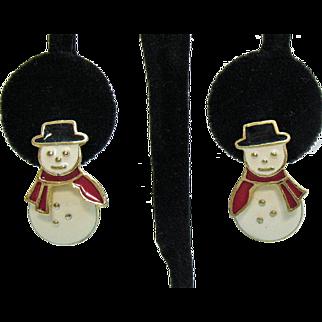 Vintage Enameled Snow Man Articulated Pierced Earrings