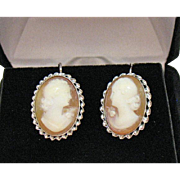 Bold Vintage 14K White Gold Hand Carved Cameo Pierced Earrings