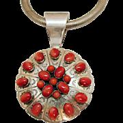 Bold Vintage Signed DTR Sterling Desert Rose Trading Company Red Coral Pendant Necklace