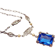 Art Deco Rhodium Silver Vintage Cultured Pearl Blue Glass Stone Necklace