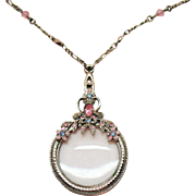 Vintage Rhinestone Magnifying Glass Pendant Necklace Steel Cut Pink Glass Beads