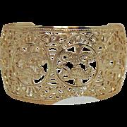 Stunning Rose Gold Aluminum Eloxal Vintage Sea Horse Filigree Cuff Bracelet Germany