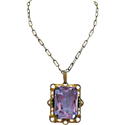 Amazing Lavender Glass Art Deco Czechoslovakia Vintage Brass Necklace