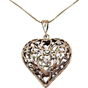 Vintage Sterling Silver Puff Heart Hand Crafted Pendant Necklace 925 Italy