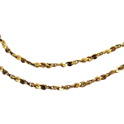 Italian 14K Yellow Gold Fancy Chain Vintage Necklace with Matching Bracelet Signed Italy