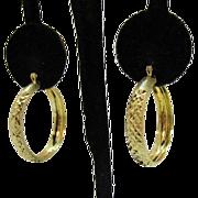 Vintage Sterling Silver Etched Signed Turkey Gold Vermeil Hoop Pierced Earrings